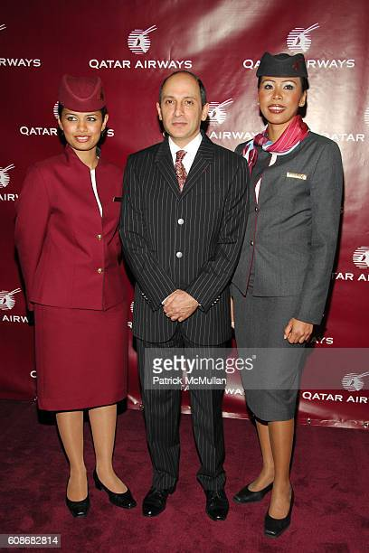 Akbar Al Baker and Qatar Airways Flight Attendants attend QATAR AIRWAYS Gala Event to Celebrate Inaugural Flights to NYC at Frederick P Rose Hall on...