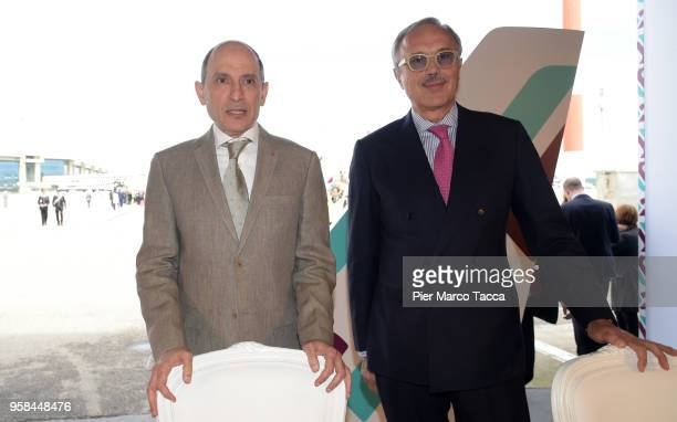 Akbar Al Baker CEO of Qatar airways and Francesco Violante President of Air Italy attend the unveiling of Air Italy's Boeing 737 Max at Malpensa...