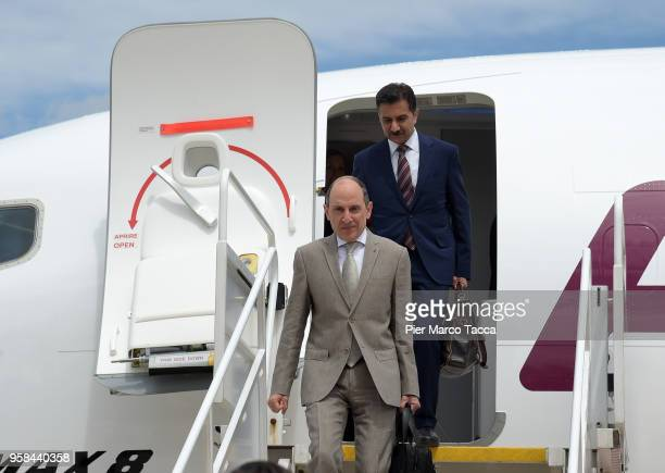Akbar Al Baker CEO of Qatar airways attends the unveiling of Air Italy's Boeing 737 Max at Malpensa airport on May 14 2018 in Varese Italy on May 14...