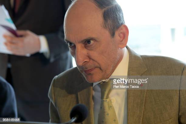 Akbar Al Baker CEO of Qatar airways attends the unveiling of Air Italy's Boeing 737 Max at Malpensa airport on May 14 2018 in Varese Italy