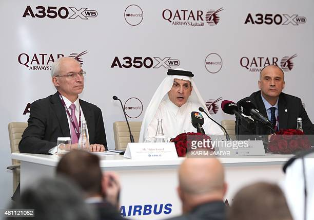 Akbar Al Baker CEO of Qatar Airways speaks during a press conference for a new Airbus A350XWB at the Doha international airport in Doha on January...
