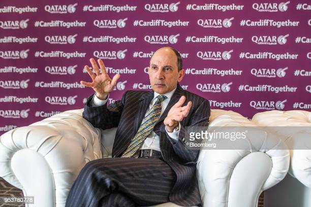 Akbar Al Baker chief executive officer of Qatar Airways gestures while speaking during an interview in Cardiff UK on Wednesday May 2 2018 Qatar...