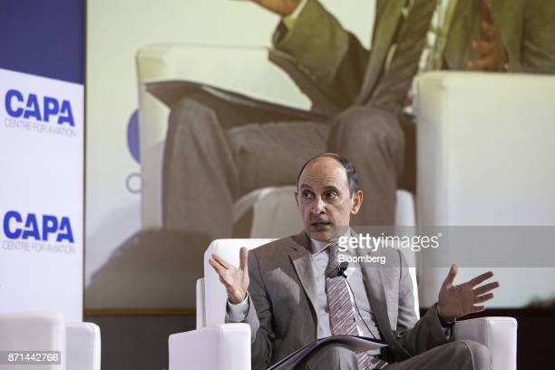 Akbar Al Baker chief executive officer of Qatar Airways Ltd speaks during the CAPA Asia Aviation and Corporate Travel Summit in Singapore on Tuesday...