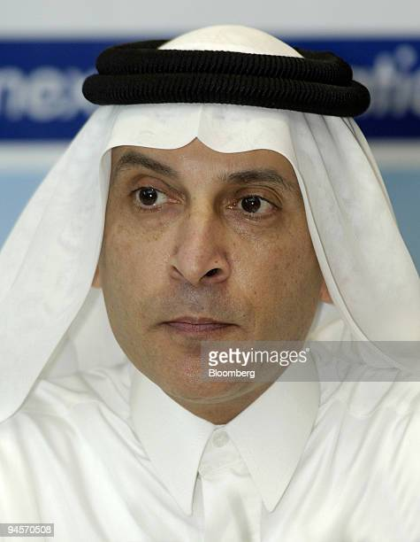 Akbar Al Baker chief executive officer of Qatar Airways pauses during the signing ceremony at the 10th Dubai Air Show in Dubai United Arab Emirates...