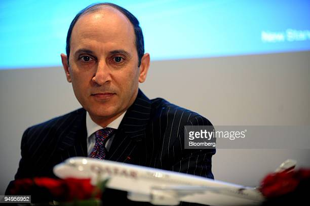 Akbar Al Baker chief executive officer of Qatar Airways pauses during a joint press conference at the Paris Air Show in Le Bourget France on Monday...