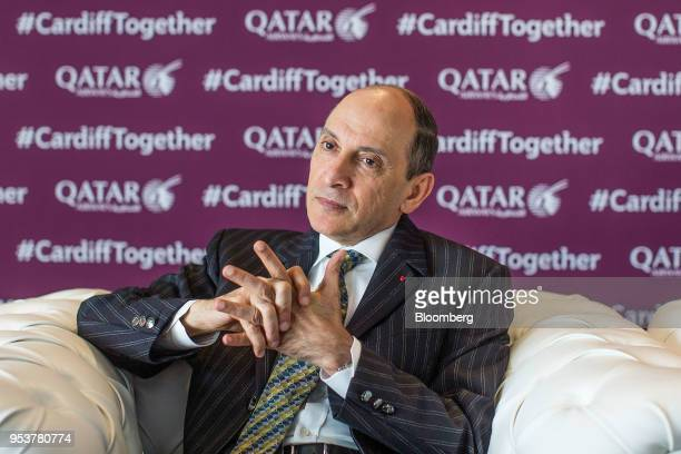 Akbar Al Baker chief executive officer of Qatar Airways pauses during an interview in Cardiff UK on Wednesday May 2 2018 Qatar Airwaysis looking at...