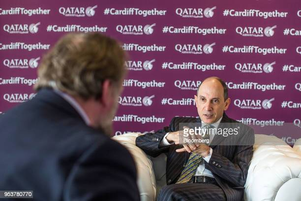 Akbar Al Baker chief executive officer of Qatar Airways speaks during an interview in Cardiff UK on Wednesday May 2 2018 Qatar Airwaysis looking at...