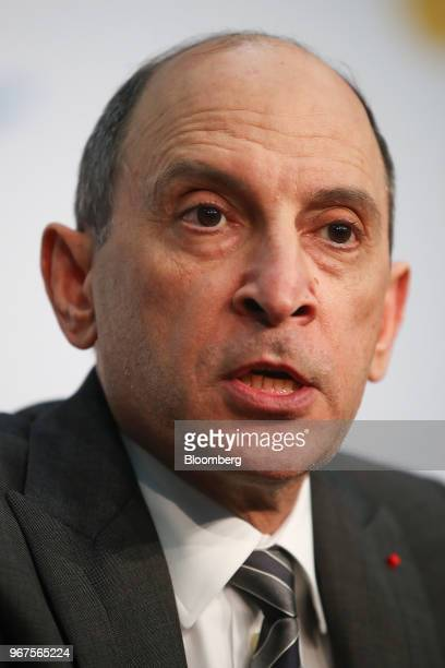 Akbar Al Baker chief executive officer of Qatar Airways speaks during a news conference at the International Air Transport Association annual general...