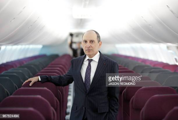 Akbar Al Baker, Group Chief Executive for Qatar Airways, is pictured inside a new Air Italy Boeing 737 MAX 8 as Boeing Commercial Airplanes, Qatar...