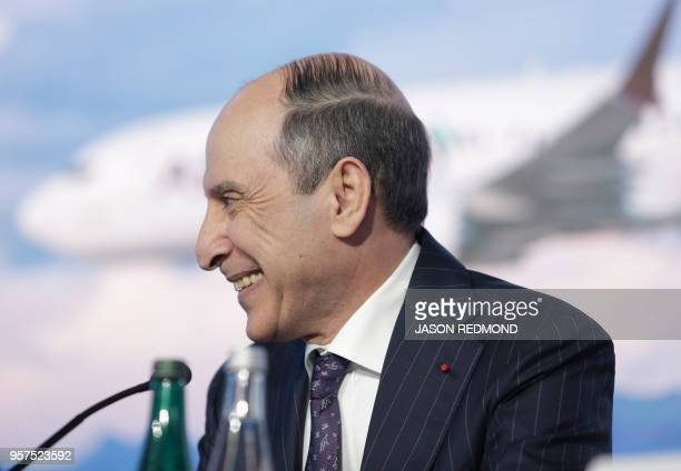 Akbar Al Baker Group Chief Executive for Qatar Airways speaks at a press conference as Boeing Commercial Airplanes Qatar Airways and Air Italy...
