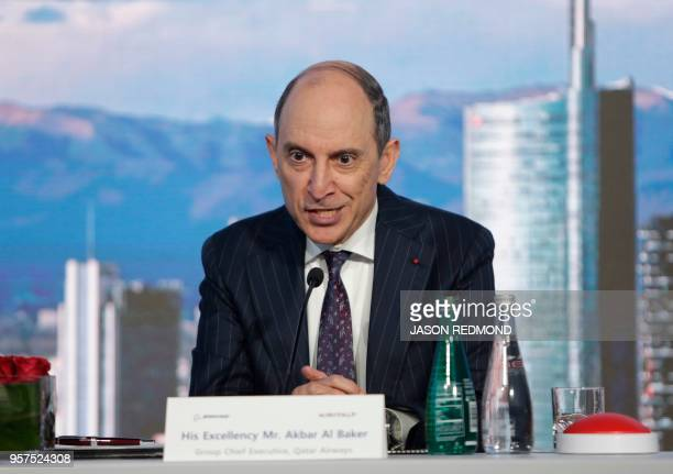 Akbar Al Baker Group Chief Executive for Qatar Airways speaks during a press conference as Boeing Commercial Airplanes Qatar Airways and Air Italy...