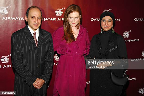 Akbar Al Baker Julianne Moore and Samira Al Baker attend QATAR AIRWAYS Gala Event to Celebrate Inaugural Flights to NYC at Frederick P Rose Hall on...