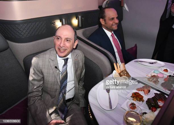 Akbar AlBaker CEO der Qatar Airways Group sitzt am in Berlin auf der Reisemesse ITB in der Luxusbestuhlung seiner Maschinen NOWIRESERVICE Photo...