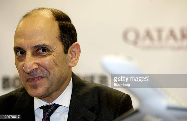 Akbar AlBaker chief executive officer of Qatar Airways Ltd pauses during a news conference on the first day of the Farnborough International Airshow...