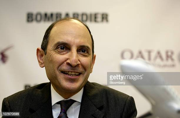 Akbar AlBaker chief executive officer of Qatar Airways Ltd speaks during a news conference on the first day of the Farnborough International Airshow...