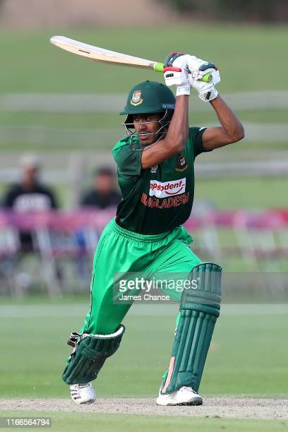 Akbar Ali of Bangladesh U19 bats during the TriSeries match between England U19 and Bangladesh U19 at The County Ground on August 05 2019 in...