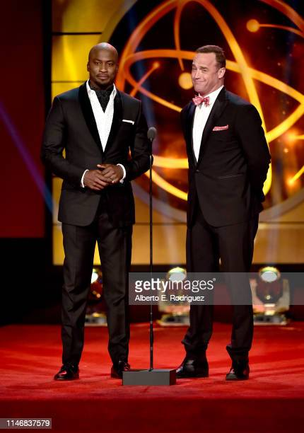 Akbar GbajaBiamila and Matt Iseman speak onstage during the 46th annual Daytime Creative Arts Emmy Awards at Pasadena Civic Center on May 03 2019 in...