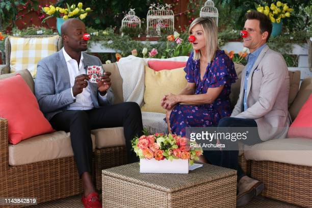 Akbar GbajaBiamila Debbie Matenopoulos and Cameron Mathison on the set of Hallmark's 'Home Family' at Universal Studios Hollywood on April 19 2019 in...