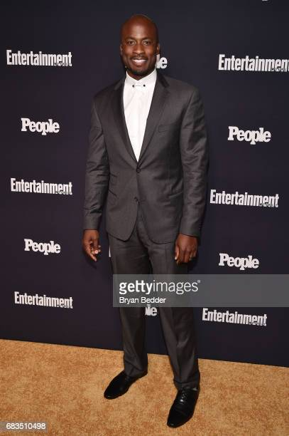 Akbar Gbajabiamila of American Ninja Warrior attends the Entertainment Weekly and PEOPLE Upfronts party presented by Netflix and Terra Chips at...