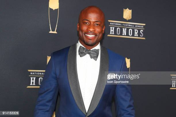 Akbar GbajaBiamila poses for photographs on the Red Carpet at NFL Honors during Super Bowl LII week on February 3 at Northrop at the University of...