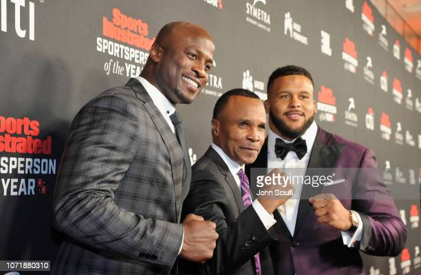 Akbar Gbaja-Biamila, Sugar Ray Leonard and Aaron Donald, Performer of the Year award recipient, attend Sports Illustrated 2018 Sportsperson of the...