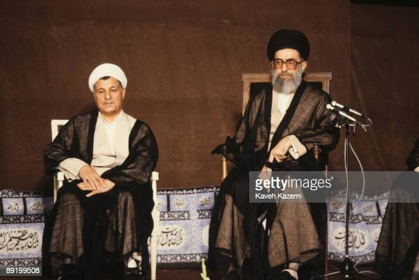 Akbar Hashemi Rafsanjani at a ceremony in which he is accredited as the new President of Iran by Iranian Supreme Leader Ayatollah Seyyed Ali Khamenei...