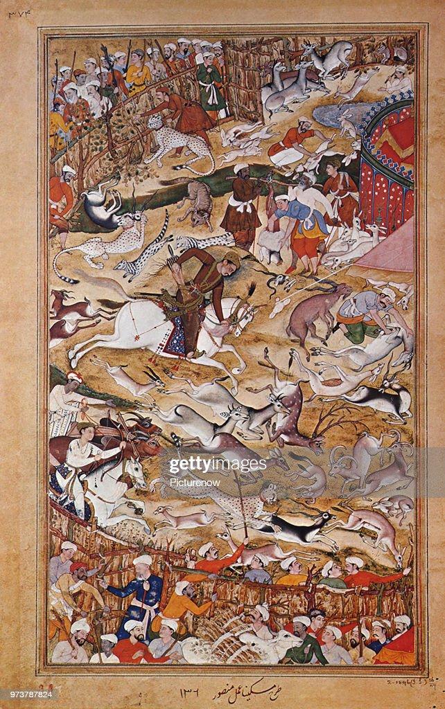 Akbar Hunting in an Enclosure : News Photo