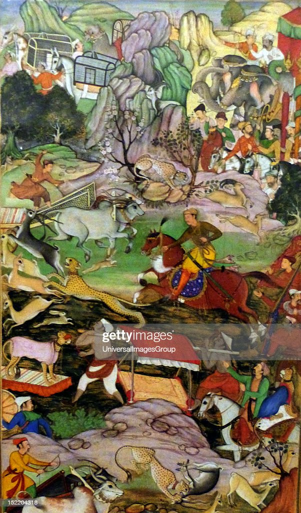 Akbar hunting with Cheetahs. From the Akbarnama (Book of Akbar). Composition by Basawan, painting by Dharmdas. Opaque watercolour and gold on paper, Mughal, c 1590-5. Akbar, the central figure on horseback is depicted hunting near Agra in 1561. : News Photo