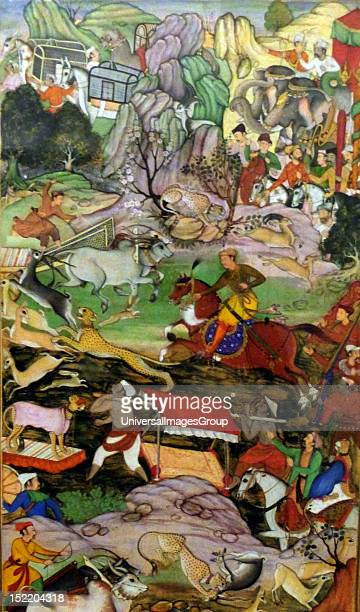 Akbar hunting with Cheetahs From the Akbarnama Composition by Basawan painting by Dharmdas