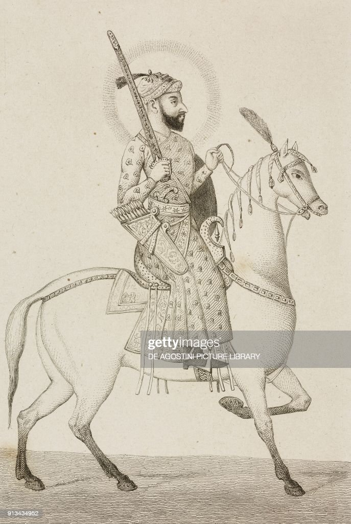 Akbar Mughal emperor, engraving by Lemaitre : News Photo