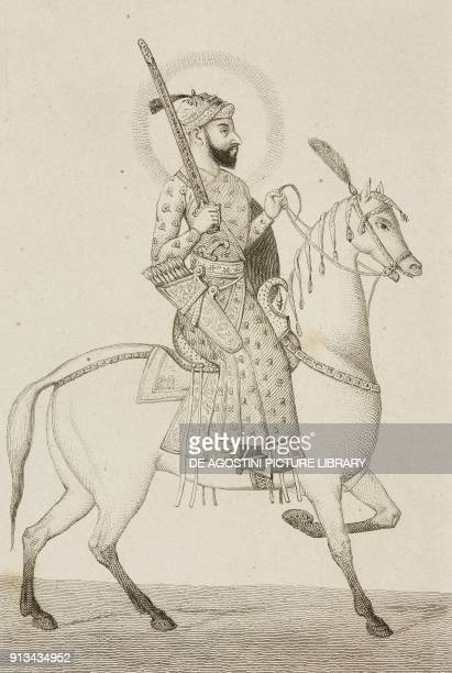 Akbar Mughal emperor engraving by Lemaitre after Vernier from Inde by Dubois De Jancigny and Xavier Raymond L'Univers pittoresque published by Firmin...