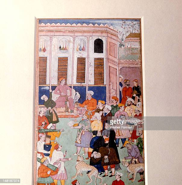 Akbar or Jahangir receiving gifts from guests India Moghul