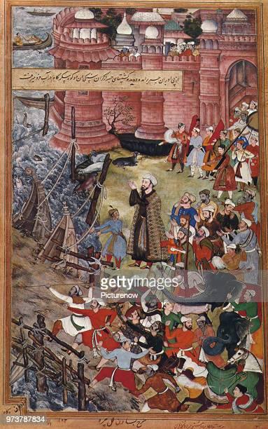 Akbar vs Elephant 1590 Basawan 1590