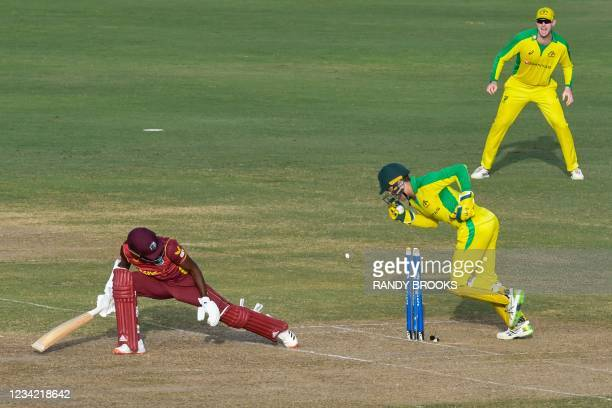 Akeal Hosein of the West Indies is dismissed by Alex Carey of Australia during the 3rd and final ODI between West Indies and Australia at Kensington...