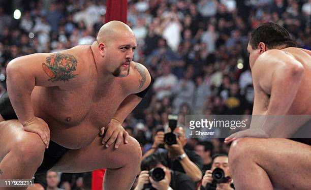Akebono and Big Show during WWE WrestleMania 21 'WrestleMania Goes Hollywood' at Staples Center in Los Angeles California United States