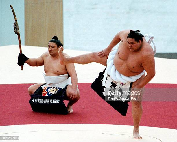 2/7/98 Akebono Grand Champion Sumo performs DohyoIri at the Opening Ceremonies of the Olympic Winter Games Photo by John McDonnell