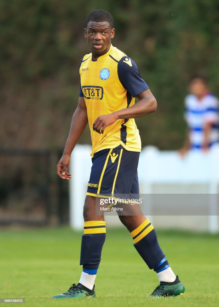 Akeeb Adeyemo of Staines Town during the Pre-Season Friendly between Staines Town and Queens Park Rangers at Wheatsheaf Park on July 13, 2018 in Staines, England.