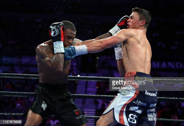 Akeem Black and Joey Spencer trade punches during their super welterweight fight at the Mandalay Bay Events Center on June 23 2019 in Las Vegas...