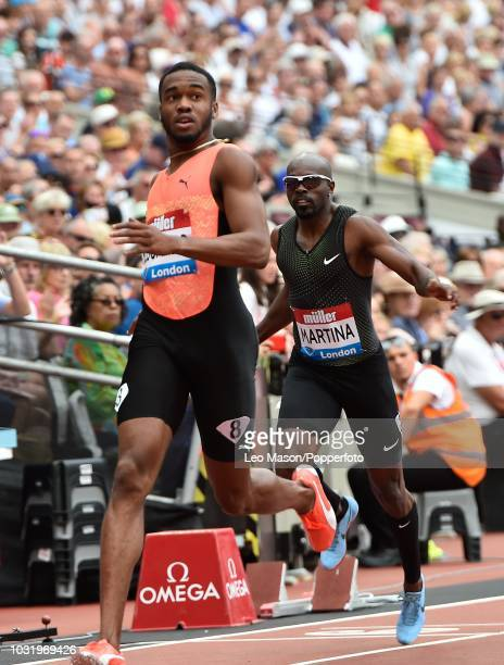 Akeem Bloomfield of Jamaica wins the 100m race in the IAAF Diamond League Muller Anniversary Games at The Queen Elizabeth Olympic Park on July 22...