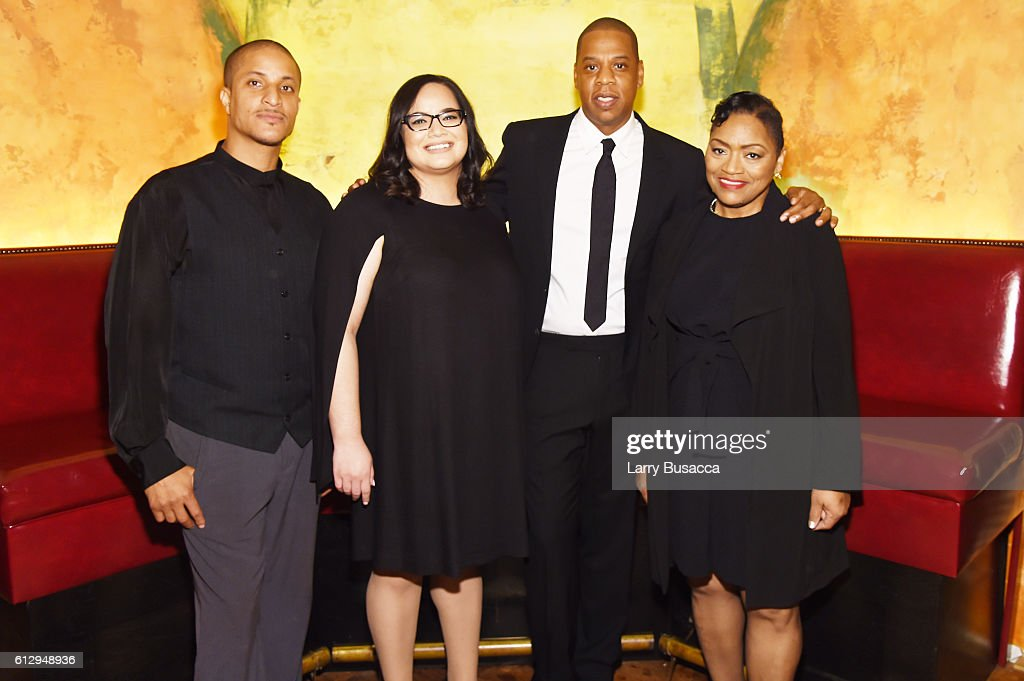 Akeem Browder, Nicole Browder, Rapper Shawn 'JAY Z' Carter, and Venida Browder attend Shawn 'JAY Z' Carter, the Weinstein Company and Spike TV's announcement of a documentary event series on Kalief Browder on October 6, 2016 in New York City.