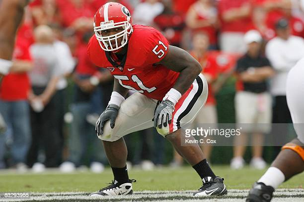 Akeem Dent of the Georgia Bulldogs gets ready on field during the game against the Tennessee Volunteers at Sanford Stadium on October 11 2008 in...