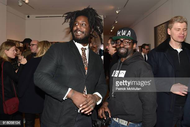 Akeem Duncan and Bim Star attend Neil Grayson Industrial Melanism solo exhibition at Eykyn Maclean Gallery on February 13 2018 in New York City