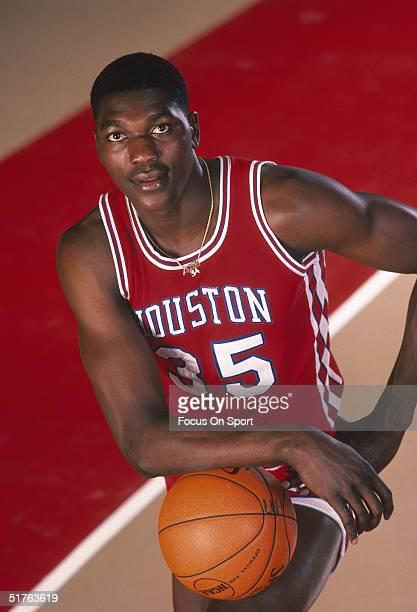 Akeem Olajuwon of the Houston Cougars poses for a portrait circa 1983.
