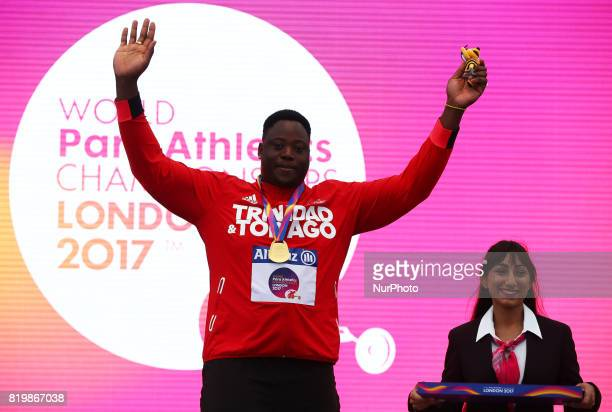 Akeem Stewart of Trindad and Tobago receives his Gold Medal for Men's Javelin Throw F44 during World Para Athletics Championships at London Stadium...