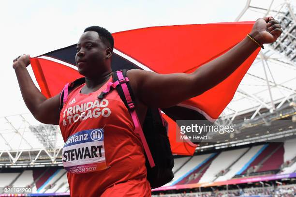 Akeem Stewart of Trinidad and Tobago celebrates after winning gold in the Mens shot put F44 final during day ten of the IPC World ParaAthletics...