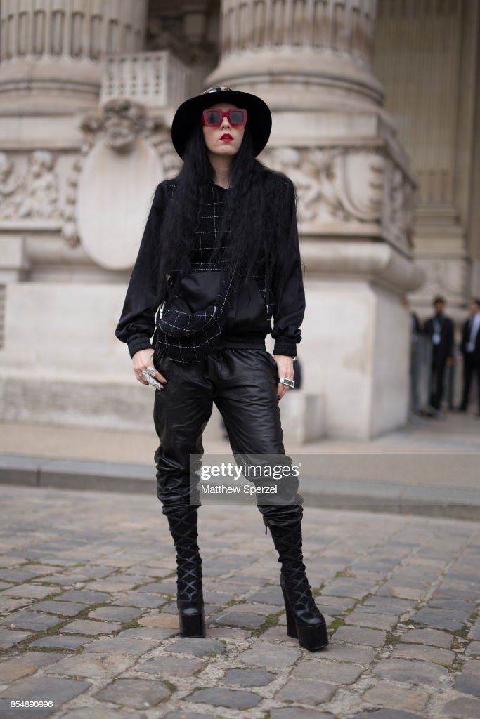 B. Akerlund is seen attending Maison Margiela during Paris Fashion Week wearing Camouflaged, Youssef Lahlou hat on September 27, 2017 in Paris, France.