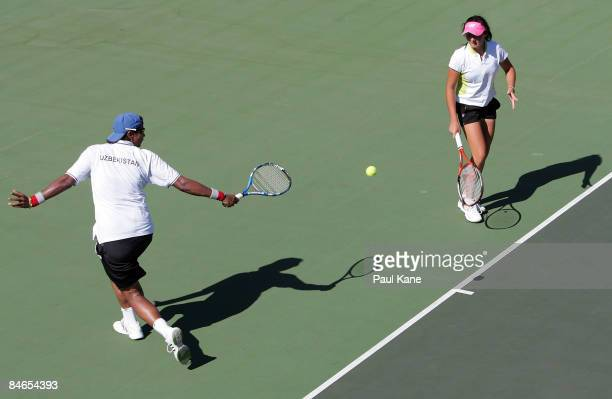 Akgul Amanmuradova of Uzbekistan plays a return shot during day two of the Fed Cup Asia/Oceania Zone Group 1 2 doubles match between Uzbekistan and...
