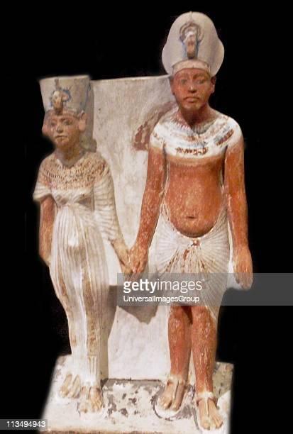 Akhenaten and Nefertiti after 1345 BC AD painted limestone