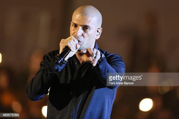 Akhenaton Philippe Fragione of I AM Band performs during Les Victoires De La Musique at Le Zenith on February 13 2015 in Paris France