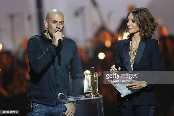 Akhenaton Philippe Fragione of I AM Band receives award during Les Victoires De La Musique at Le Zenith on February 13 2015 in Paris France